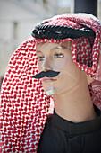 Display dummy with mustache and arabic headdress, capital Amman, Jordan, Middle East, Asia