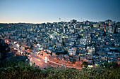 View of capital Amman at night, Jordan, Middle East, Asia