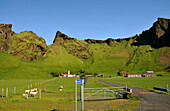 Farmhouse at the coast underneath of the Porsmoerk vulkano, South Iceland, Europe