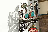 Wrought-iron museum sign in the old town of Strasbourg, historic district, Strasbourg, Alsace, France