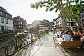 Restaurant along the canal in the Petite France quarter, Strasbourg, Alsace, France