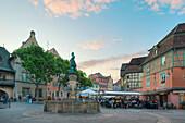Schwendi well at dusk, Colmar, Alsace, France, Europe