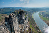 Elbe seen from the Bastei rock, Elbe Sandstone mountains, Saxon Switzerland, Saxony, Germany, Europe