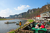 People at a cafe at Elbe and Bastei rock, Niederrathen, Elbe Sandstone mountains, Saxon Switzerland, Saxony, Germany, Europe