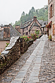 Alley with old houses, Conques, Aveyron, Midi-Pyrenees, France
