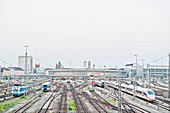 View over the tracks onto the Hacker Bridge, railway station, Munich, Upper Bavaria,  Bavaria, Germany