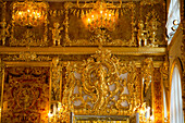 Restored Amber Room in Catherine Palace, Tsarskoye Selo, Pushkin, St. Petersburg, Russia, Europe