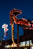 USA, Nevada, Las Vegas, Downtown, Fremont Street East, old neon signs, evening