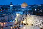 Israel, Jerusalem, Old City, Jewish Quarter, elevated view of the Western Wall Plaza, late evening