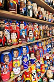 Russia, Moscow Oblast, Moscow, Red Square, souvenir matryoshka nesting dolls with sports theme