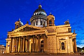Russia, Saint Petersburg, Center, Saint Isaac Cathedral, evening