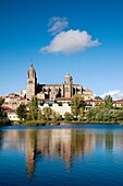 Spain, Castilla y Leon Region, Salamanca Province, Salamanca, Salamanca Cathedrals and town, viewed from the Tormes River