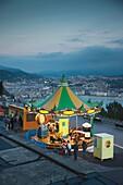 Spain, Basque Country Region, Guipuzcoa Province, San Sebastian, Monte Igueldo amusement park, dusk