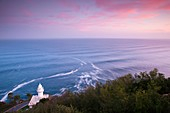Spain, Basque Country Region, Guipuzcoa Province, San Sebastian, elevated view of the Monte Igueldo lighthouse, dawn