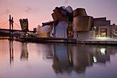 Spain, Basque Country Region, Vizcaya Province, Bilbao, The Guggenheim Museum, designed by Frank Gehry, dawn