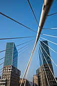Spain, Basque Country Region, Vizcaya Province, Bilbao, The Zubizuri Bridge, architect Santiago Calatrava, on the Rio de Bilbao river