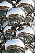 Spain, Basque Country Region, Vizcaya Province, Bilbao, city reflection in chrome spheres