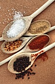Course Sea Salt, top left, Ground Coriander, top right, Crushed Chillies, middle left, Paprika, middle right and Peppercorns, bottom on wooden spoons on a cork background.