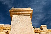 Greek inscription on plinth, Greco-Roman city of Jerash, Jordan, Middle East