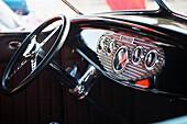 interior of vintage automobile
