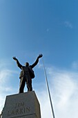 The Spire of Dublin from O´Connell Street behind the statue of Jim Larkin  The Spire is often considered a shining symbol of Ireland´s recent period of rapid economic growth  Dublin city capital  Leinster province  Ireland Eire