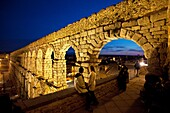 Night time view of the Aqueduct of Segovia,spain