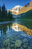 Mount Edith Cavell 3,363 m 11,033 ft viewed from Cavell Lake, Jasper National Park Alberta Canada