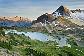 Eveing light over Russell Peak and Limestone Lakes Basin, Height-of-the-Rockies Provincial Park British Columbia Canada