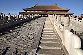 White marble carved royal staircases in front of Hall of Supreme Harmony Tai He Dian the ceremonial center of imperial power since Ming dynasty  Forbidden City  Beijing  China