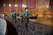 'Soldiers inside the The Hall of the Warrior Glory on Mamaev Kurgan Mamay Mound; Volgograd, Russian Federation'