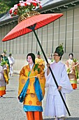 Participants dressed in Imperial court costumes of the Heian period 794-1185 taking part in the Aoi Matsuri parade