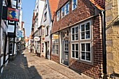 Colorful buildings in the historic Schnoor quarter, Bremen, Germany, Europe
