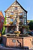 adorned , Alsace , architecture , building , color image , construction , day , Europe , fountain , frame , France , Haut-Rhin , house , Kaysersberg , outdoor , saint , statue , timber , timbered , vertical , V04-1585447 , AGEFOTOSTOCK