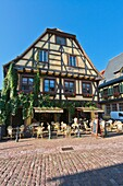 Alsace , architecture , blue , building , color image , day , Europe , France , Haut-Rhin , house , idyll , idyllic , Kaysersberg , outdoor , sky , vertical , V04-1585450 , AGEFOTOSTOCK