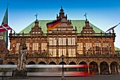 architecture , Bremen , building , Europe , Germany , heritage , historic , history , horizontal , market-square , town hall , traffic , transport , V04-1589817 , AGEFOTOSTOCK