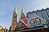architecture , Bremen , building , cathedral , Christmas , color image , day , Europe , festive , Germany , horizontal , Market stall , outdoor , season , V04-1589890 , AGEFOTOSTOCK