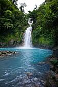 Sulfur and calcium carbonates mix forming vibrant blue hues in Rio Celeste, Tenorio Volcano National Park, Costa Rica