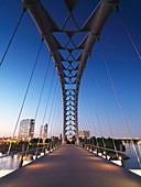 The Humber River Arch Bridge in Toronto during sunset also known as the Humber Bay Arch Bridge or the Gateway Bridge  Toronto, Ontario, Canada