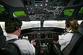 Pilot and co pilot working in a Boeing 737 editorial use only, no negative publicity