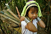 Closeup of a Longneck girl carrying firewood Approximately 300 Burmese refugees in Thailand are members of the indigenous group known as the Longnecks The largest of the three villages where the Longnecks live is called Nai Soi, located near Mae Hong Son