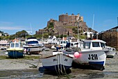 Gorey ST MARTIN JERSEY Boats in harbour and Mont Orgueil Castle