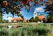 Village green and church at Bietikow, Uckermark, Land Brandenburg, Germany, Europe