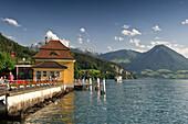 Landing stage in Vitznau, Lake Lucerne, canton Lucerne, Switzerland, Europe