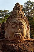 Giant head, Gopuram, south gate, Angkor Thom, Angkor Wat, Unesco World Cultural Heritage, Angkor, Cambodia