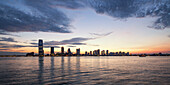 View from Battery Park to Skyline of New Jersey at Sunset, New York City, USA