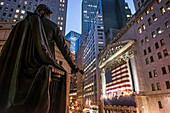 Gearg Wahsington Statue, New York Stock Exchange, Wall Street, Downtown, Manhattan, New York City, New York, USA
