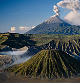 Mount Semeru erupting in 1989, Viewed from ancient Tengger, Caldera Bromo active crater on the left, East Java, Indonesia