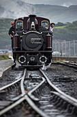 Steam locomotive of Ffestiniog Narrow Gauge Heritage Railway, Porthmadog, Gwynedd, Wales, United Kingdom