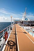 Running track on deck of cruise ship Azamara Journey (Azamara Club Cruises), Irish Sea, near Wales, United Kingdom