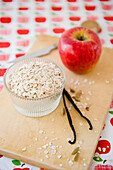 Muesli with rolled oats and apple, cereal, granola, Breakfast, Homemade, Bavaria, Germany